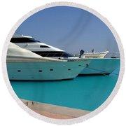 Luxury Yachts 04 Round Beach Towel