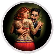 Lydia The Tattooed Lady Round Beach Towel