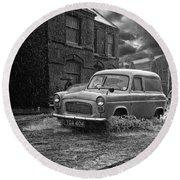 Lye Rain Storm, Ford Prefect Van - 1960's    Ref-244 Round Beach Towel