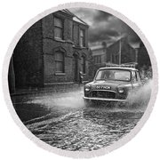 Lye Rain Storm, Morris Mini Car - 1960's    Ref-246 Round Beach Towel