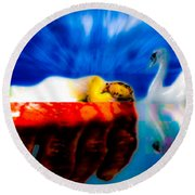 Lying In Blood Of Love Round Beach Towel