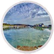 Lyme Regis Harbour -- Painterly Round Beach Towel