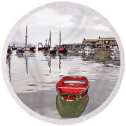 Lyme Regis Harbour Abstract Round Beach Towel