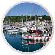 Lyme Regis Harbour On A July Morning Round Beach Towel