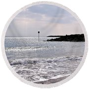 Lyme Regis Seascape - March Round Beach Towel