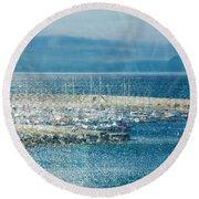Lyme Regis Under Glass Round Beach Towel