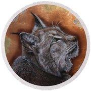 Lynx Face Round Beach Towel