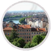 Lyon From Above Round Beach Towel