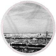 Lyon From The Basilique De Fourviere-bw Round Beach Towel