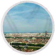 Lyon From The Basilique De Fourviere-color Round Beach Towel