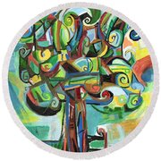 Lyrical Tree Round Beach Towel