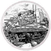M 4 Sherman Break Out From Normandy Round Beach Towel