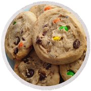 M And M - Chocolate Chip - Cookies - Bakery Shop Round Beach Towel