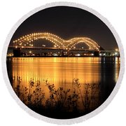 The Hernando De Soto Bridge M Bridge Or Dolly Parton Bridge Memphis Tn  Round Beach Towel