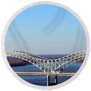 M Bridge Memphis Tennessee Round Beach Towel