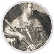 M Silvius Otho Emperor Of Rome Round Beach Towel by Titian