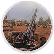 M102 105mm Light Towed Howitzer  2 9th Arty At Lz Oasis R Vietnam 1969 Round Beach Towel