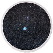 M27, The Dumbbell Nebula Round Beach Towel