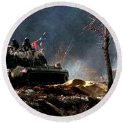 M48 Tanks An Tankers On The Job In Korean War Round Beach Towel