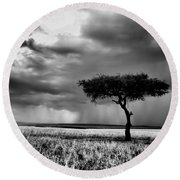 Maasai Mara In Black And White Round Beach Towel