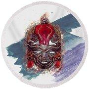 Maasai Mask - The Rain God Ngai Round Beach Towel