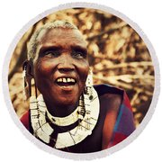 Maasai Old Woman Portrait In Tanzania Round Beach Towel