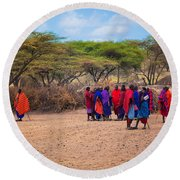 Maasai People And Their Village In Tanzania Round Beach Towel