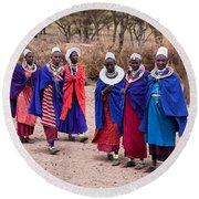 Maasai Women In Front Of Their Village In Tanzania Round Beach Towel