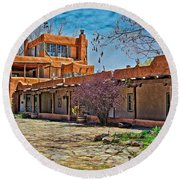 Mabel Dodge Luhan's Courtyard Round Beach Towel