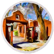 Mabel's Gate As Oil Painting Round Beach Towel