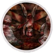 Macabre - Dolls - Having A Friend For Dinner Round Beach Towel by Mike Savad
