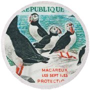 Macareux Seven Islands Conservation Round Beach Towel