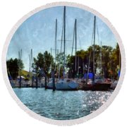 Macatawa Masts Round Beach Towel