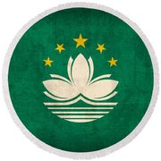 Macau Flag Vintage Distressed Finish Round Beach Towel