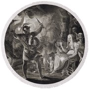 Macbeth, The Three Witches And Hecate Round Beach Towel