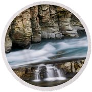 Macdonald Creek Falls Glacier National Park Round Beach Towel