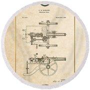 Machine Gun - Automatic Cannon By C.e. Barnes - Vintage Patent Document Round Beach Towel