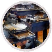 Machine Shop With Punch Press Round Beach Towel