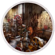 Machinist - A Room Full Of Memories  Round Beach Towel by Mike Savad