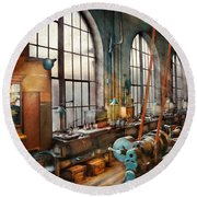 Machinist - Back In The Days Of Yesterday Round Beach Towel by Mike Savad