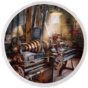 Machinist - Fire Department Lathe Round Beach Towel by Mike Savad