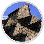 Machu Picchu Hut Peru Round Beach Towel