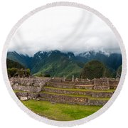 Machu Picchu Main Square And The Group Of The Three Doorways Round Beach Towel