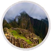 Machu Picchu Overlook Round Beach Towel