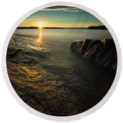 Mackenzie Point September Sunrize Round Beach Towel