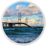 Mackinac Among The Waves Round Beach Towel