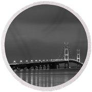 Mackinac Bridge Black And White Round Beach Towel