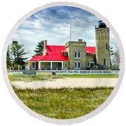 Mackinac Point Lighthouse Michigan Round Beach Towel