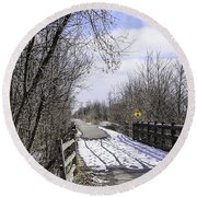 Macomb Orchard Trail Round Beach Towel