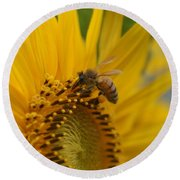 Macro Of Bee On Sunflower...   # Round Beach Towel